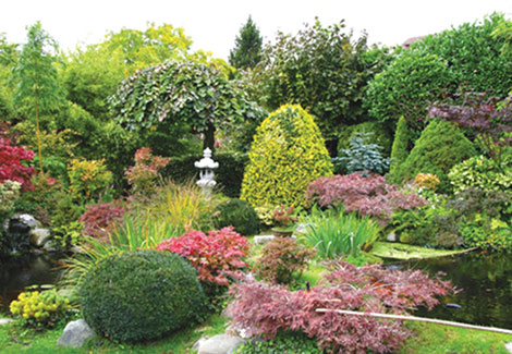 Lush backyard with bushes, plants, flowers, and stone statues