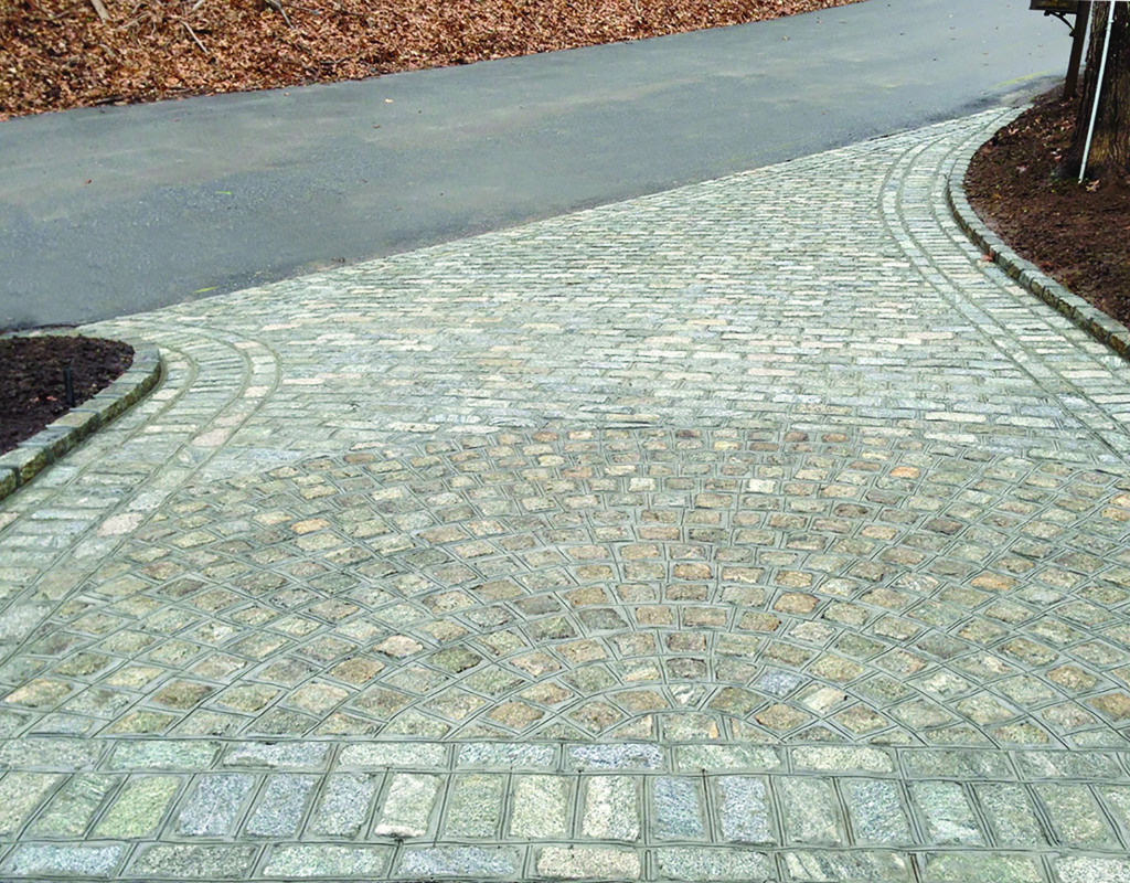 Short driveway with paving stones in a simple design