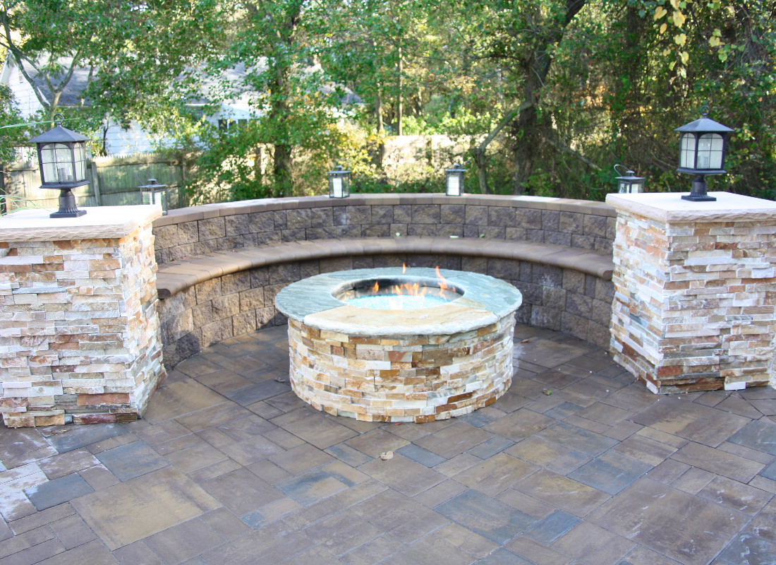 Rough masonry stone used for seating area and fire pit