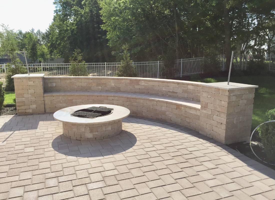 Beige stones for seating area and fire pit