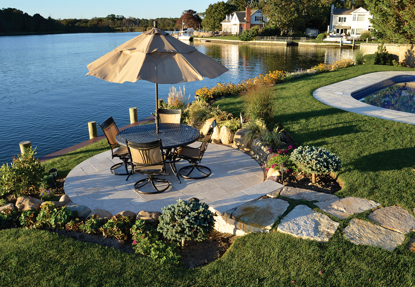 masonry patio on Long Island waterfront
