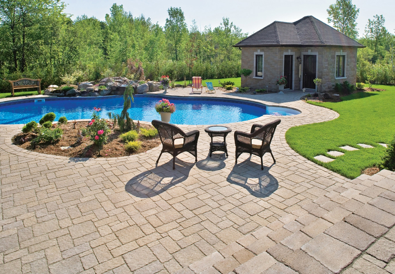 masonry pools cape with plant accents
