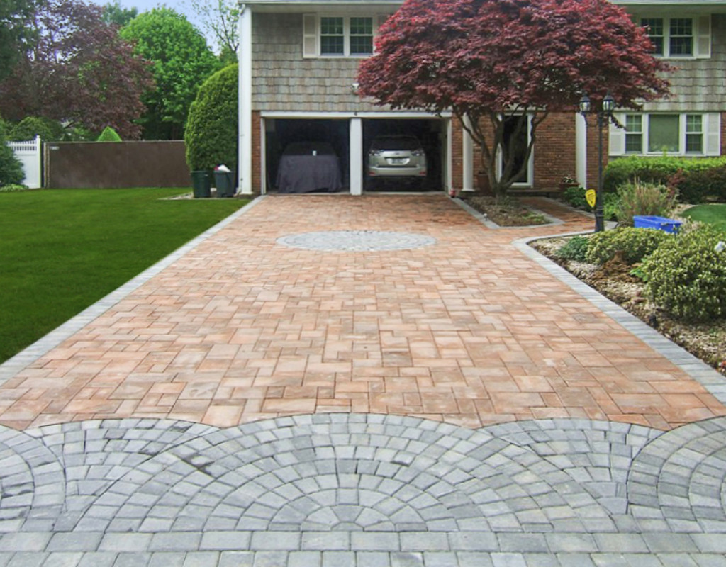 Orange and gray masonry stone driveway