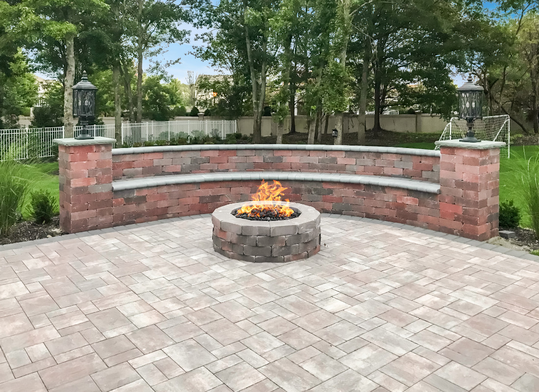 Paving stones used for seating area around fire pit