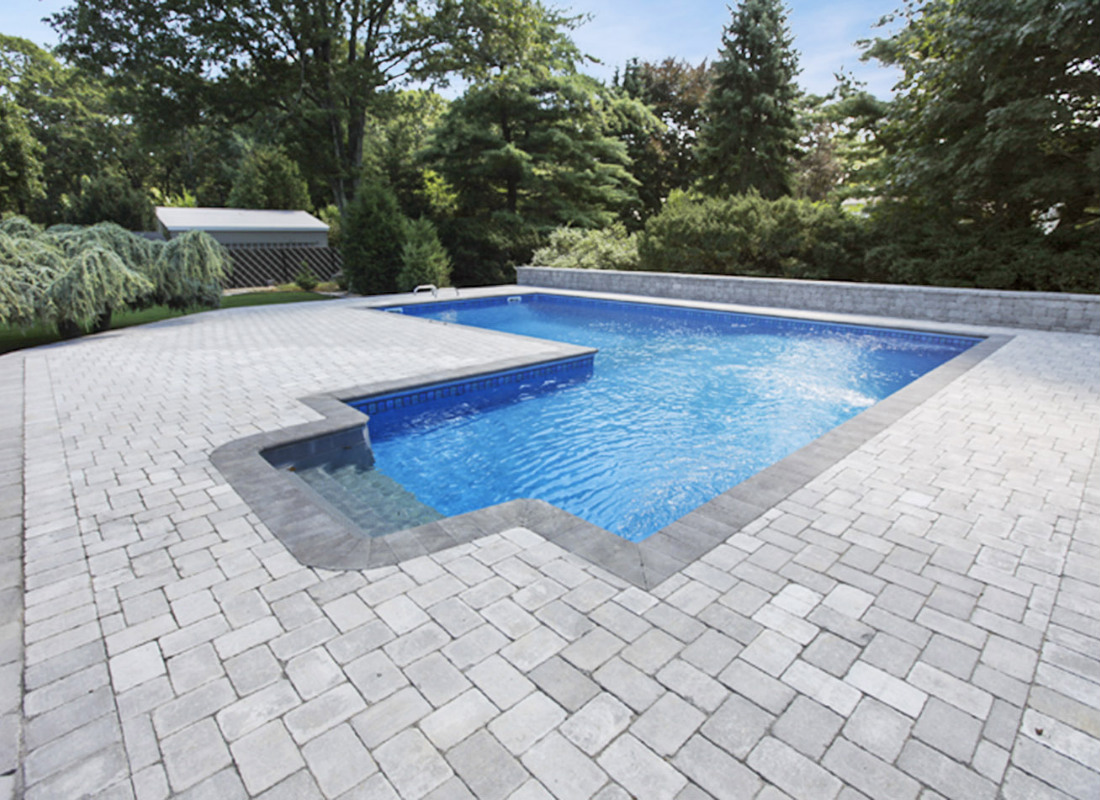 Plain gray brickwork for patio