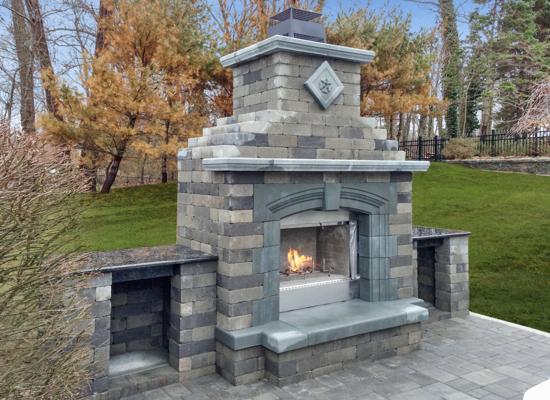 Fire place and chimney built on outdoor patio