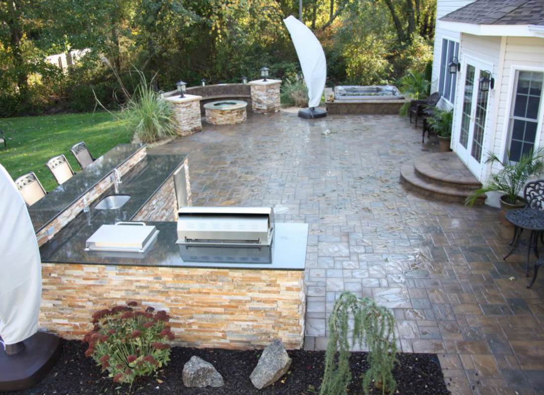 square stone patio for seating area