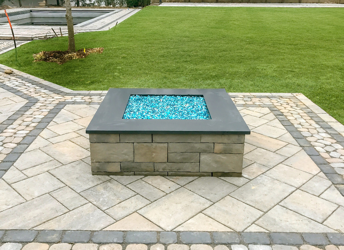 Blue fire glass used in gas fire pit
